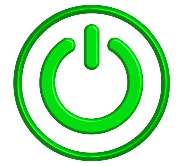 Icône d'interrupteur d'alimentation 3d, fluorescent vert Vecteur Premium
