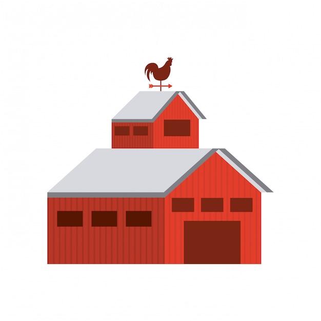 Icône isolé de bâtiment ferme stable Vecteur Premium