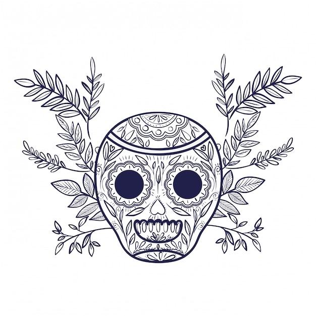 Icône isolé du crâne mexicain Vecteur Premium
