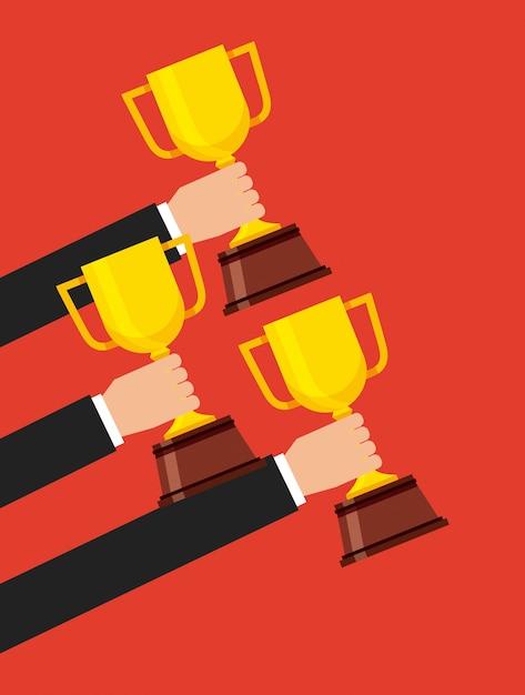 Icône isolé du gagnant du trophée Vecteur Premium