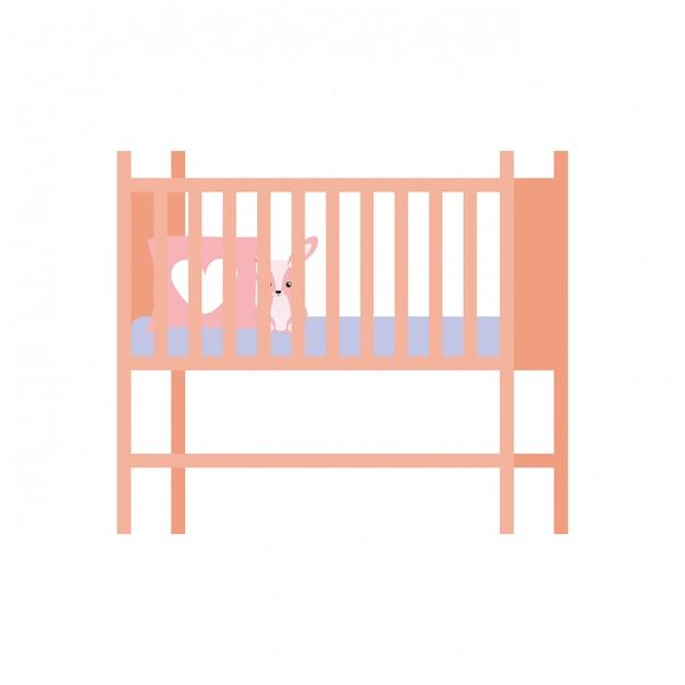 Icône isolé de lit de bébé ou lit bébé Vecteur Premium