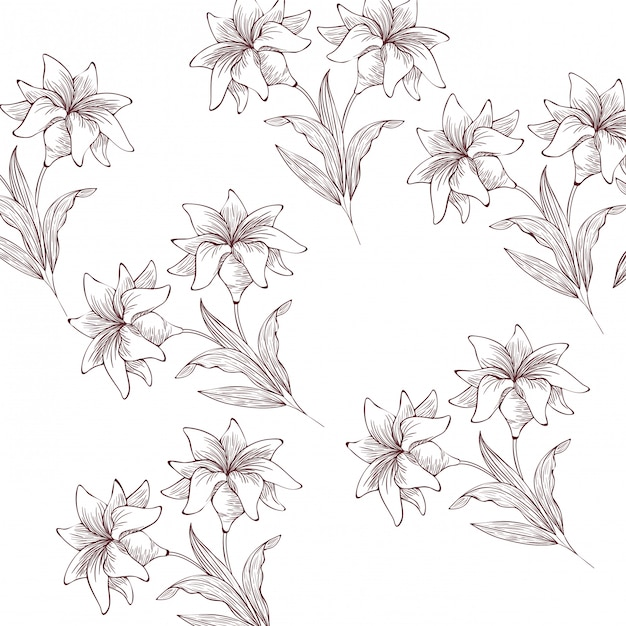 Icône isolé motif plantes et herbes Vecteur Premium