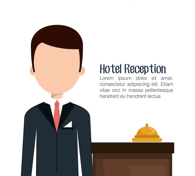 Icône isolé de service hôtelier réceptionniste Vecteur Premium