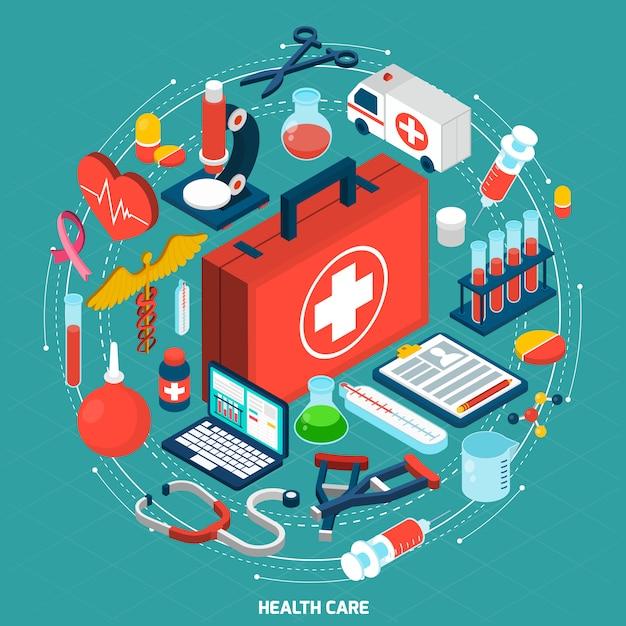 Icône isométrique concept de soins de santé Vecteur gratuit