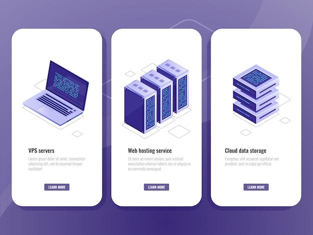 Icône isométrique du service d'hébergement web, salle serveur vps, stockage en nuage dans l'entrepôt de données Vecteur gratuit