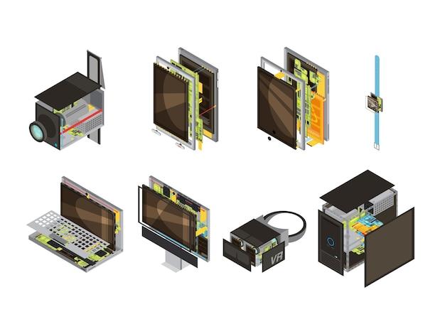 Icône isométrique de régime de gadgets colorés sertie de pièces de réserve d'ordinateur et illustration vectorielle de microcircuit Vecteur gratuit