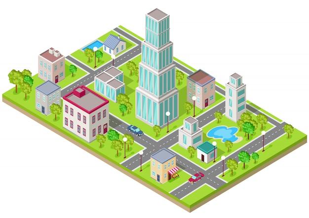 Icône isométrique de la ville au design plat Vecteur Premium
