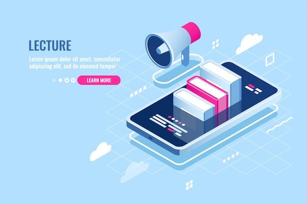 Icône isométrique de webinaire en ligne, cours internet, téléphone mobile avec livre à l'écran Vecteur gratuit