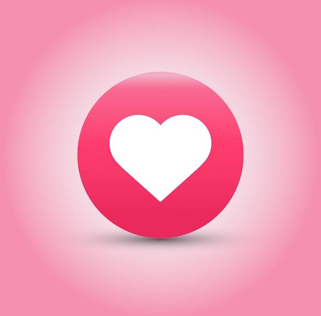 Icône j'aime et coeur sur fond rose. Vecteur Premium
