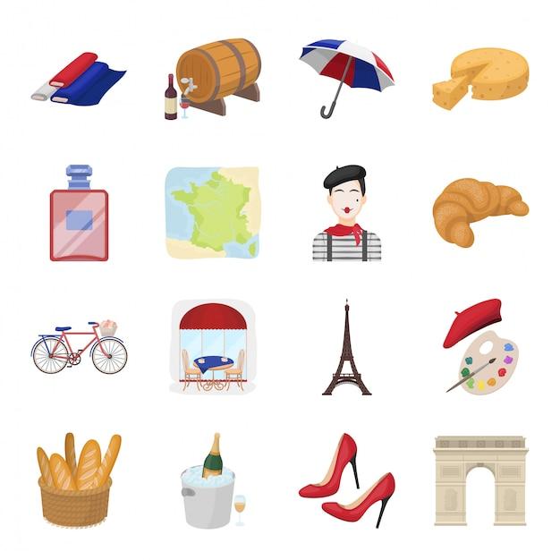 Icône De Jeu De Dessin Animé De Pays France. Illustration Voyage à Paris .isolé Dessin Animé Ensemble Icône Pays France. Vecteur Premium
