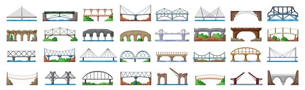 Icône De Jeu De Dessin Animé De Pont De Construction. Jeu D'icônes Isolé Dessin Animé Pont De Construction. Vecteur Premium