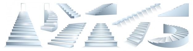 Icône De Jeu Réaliste Isolé Escalier. Escalier D'icône De Jeu Réaliste. Escalier Illustration Sur Fond Blanc. Vecteur Premium