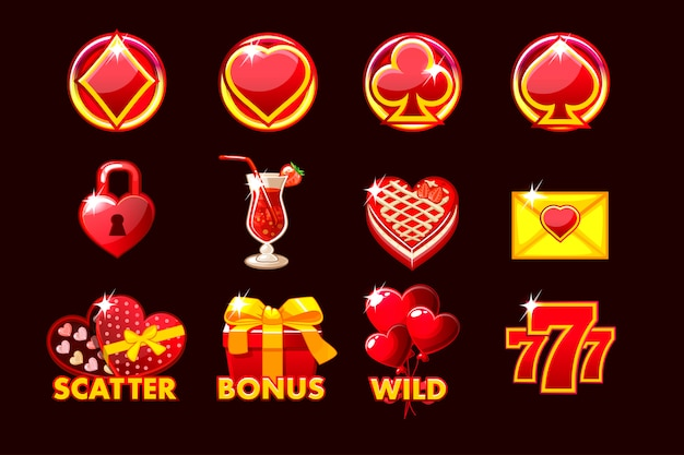 Icône De Jeu Des Symboles De Saint-valentin Pour Les Machines à Sous Et Une Loterie Ou Un Casino. Vecteur Premium