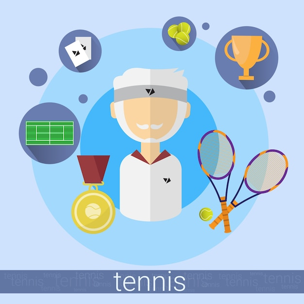 Icône de joueur de tennis homme senior Vecteur Premium