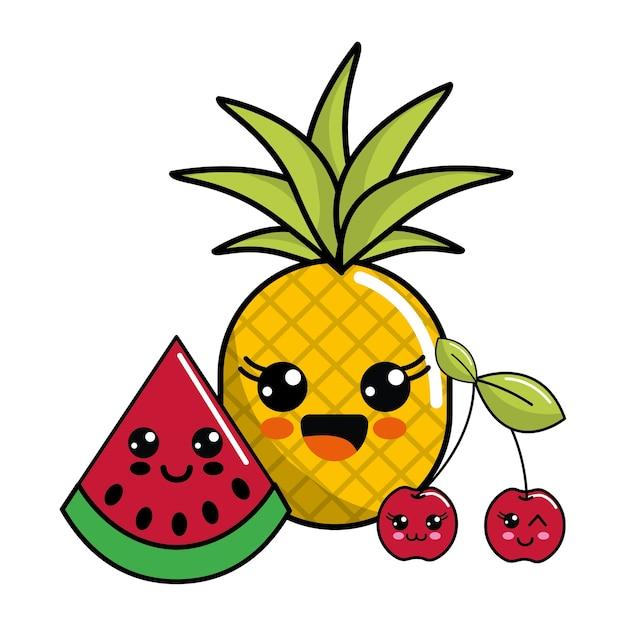 Dessin Kawaii Nourriture Ananas