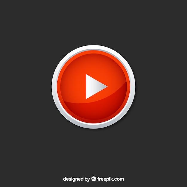 Icône de lecteur youtube avec un design plat Vecteur gratuit
