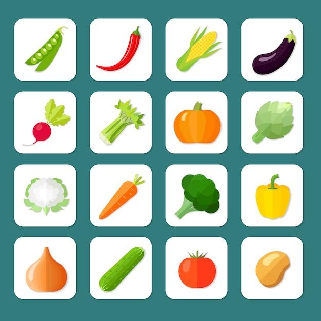 Icône De Légumes Plat Sertie De Pois Illustration De Vecteur Isolé Aubergine De Maïs Au Poivre Piment Vecteur Premium