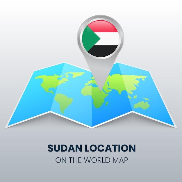 Icône De Localisation Du Soudan Sur La Carte Du Monde, Icône De Broche Ronde Du Soudan Vecteur Premium