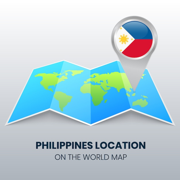 Icône De Localisation Des Philippines Sur La Carte Du Monde, Icône De Broche Ronde Des Philippines Vecteur Premium