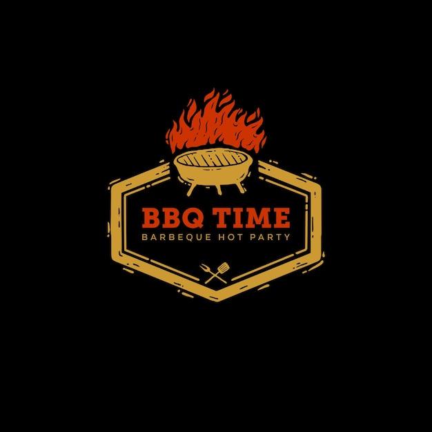 Icône logo barbeque temps de fête Vecteur Premium