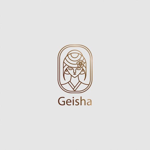 Icône Logo Lady Geisha Avec Dessin Au Trait Vecteur Premium