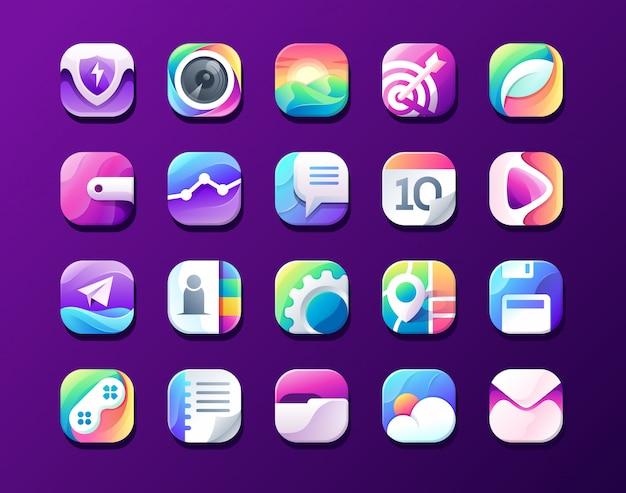 Icône de menu de téléphone intelligent, sécurité, caméra, image, cible, feuille organique, portefeuille Vecteur Premium