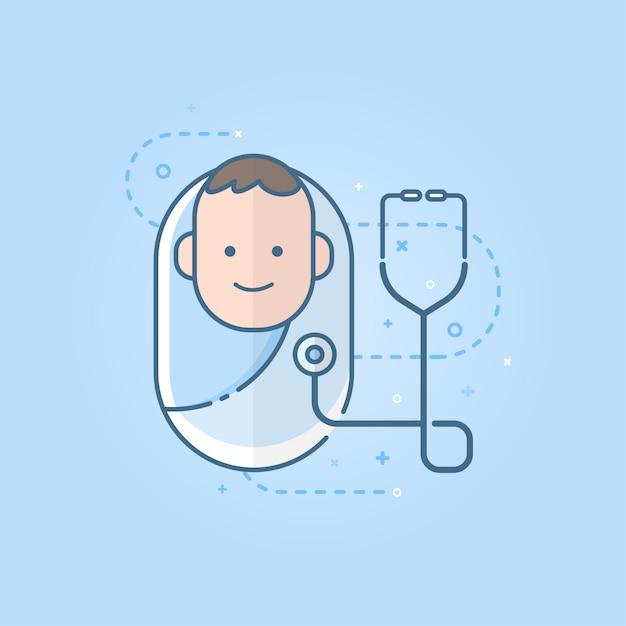 Icône mignon bébé nouveau-né avec le stéthoscope Vecteur Premium