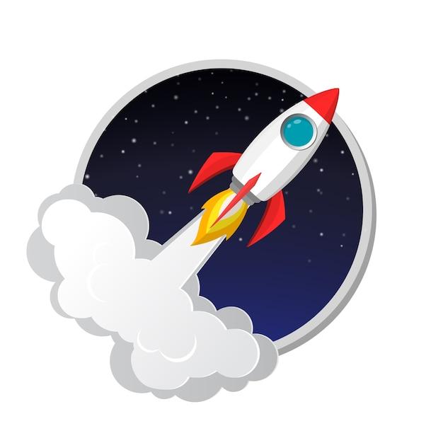 Icône de modèle de lancement de fusée spatiale Vecteur Premium