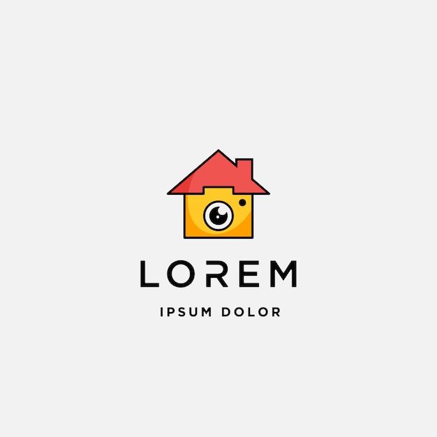 Icône de modèle de logo de maison caméra Vecteur Premium