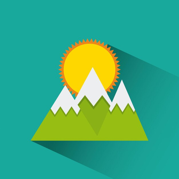 Icône Montagnes Et Soleil Vecteur Premium