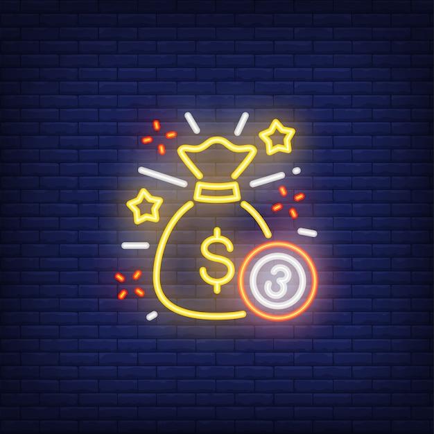 Icône néon du jackpot Vecteur gratuit