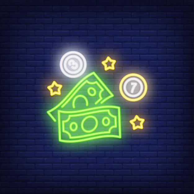 Icône néon de loterie Vecteur gratuit