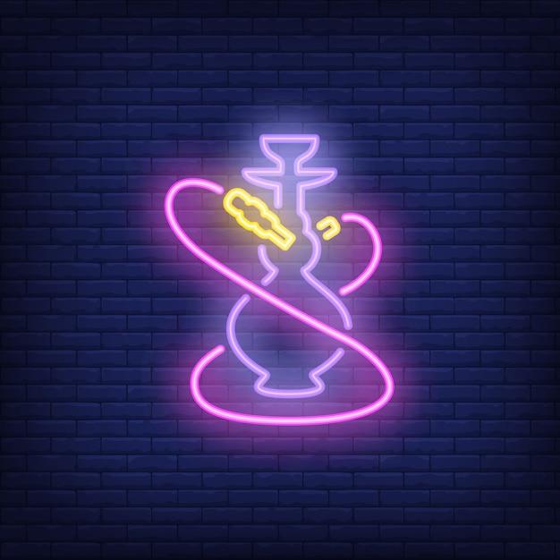 Icône néon de narguilé avec deux tuyaux roses Vecteur gratuit
