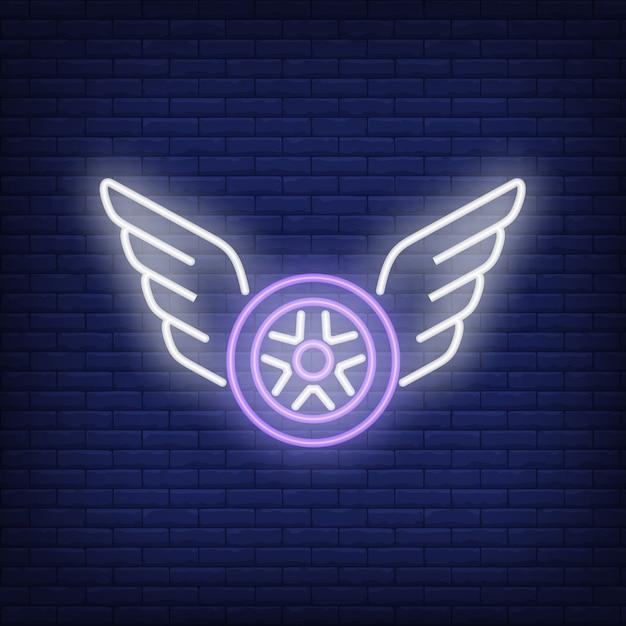 Icône de néon de roue volante Vecteur gratuit