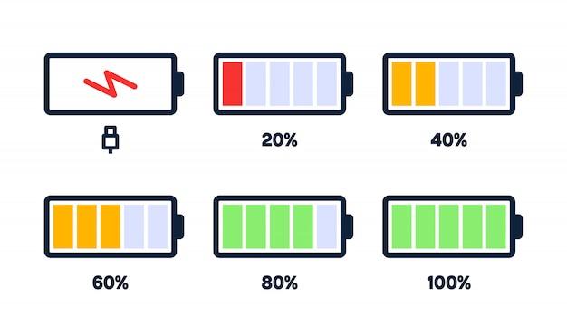 Icône De Niveau D'énergie. Charge, Indicateur De Batterie Du Téléphone, Niveau De Puissance Du Smartphone, énergie De L'accumulateur Vide Et Icônes D'état Complètes Définies. Vecteur Premium