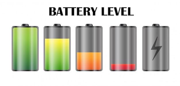 Icône De Niveau De Puissance Sur La Batterie Du Smartphone. Vecteur Premium