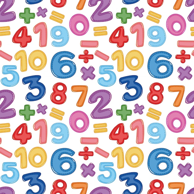 Une icône de nombre et de maths sans soudure Vecteur Premium