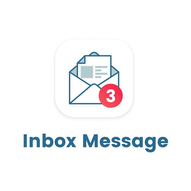 Icône de notification sur la lettre ouverte Vecteur Premium
