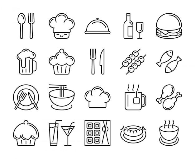 Icône de nourriture et de boissons. jeu d'icônes de ligne de restaurant. trait éditable, pixel parfait. Vecteur Premium