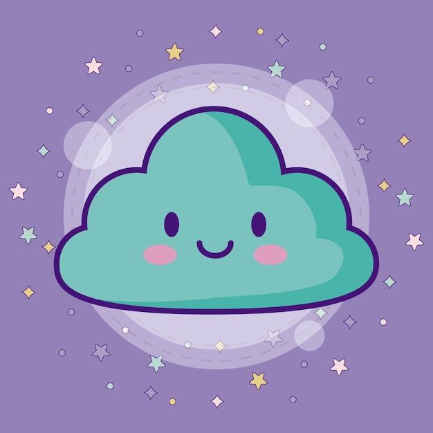 Icône de nuage kawaii avec des étoiles colorées autour Vecteur Premium
