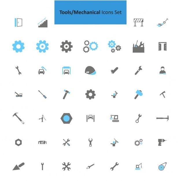 Icône outils mécaniques set Vecteur gratuit