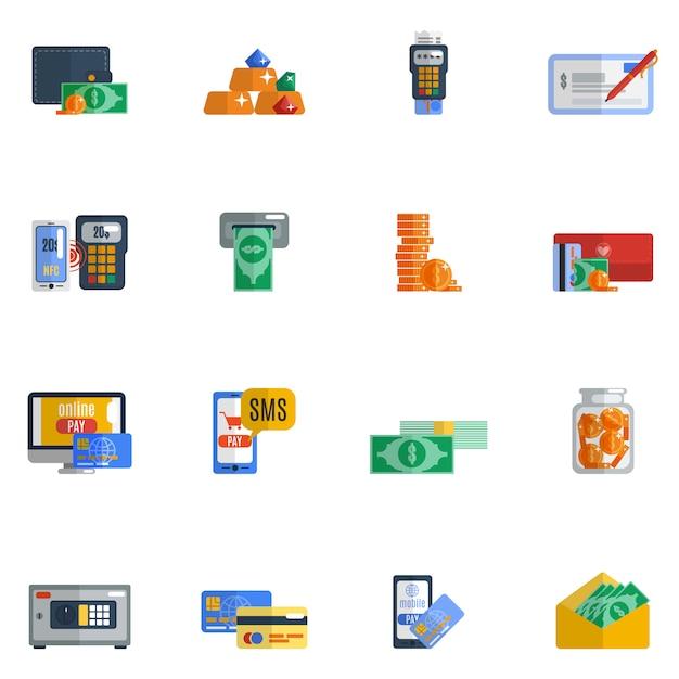 Icône de paiement plat Vecteur gratuit