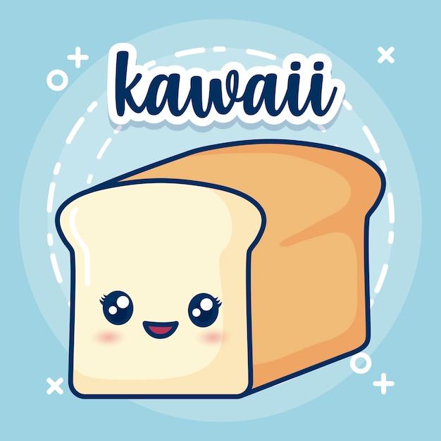 Icône de pain kawaii Vecteur gratuit