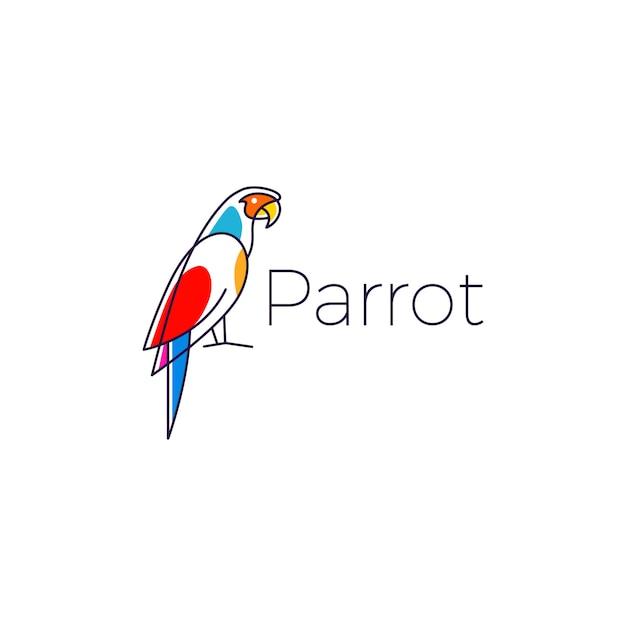 Icône de perroquet logo oiseau vector illustration Vecteur Premium