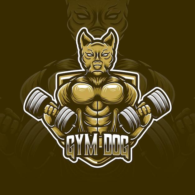 Icône De Personnage De Logo Esport Chien Gym Vecteur Premium