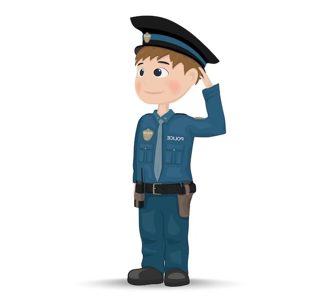 Icone De Personnage De Policier De Dessin Anime Vecteur Premium