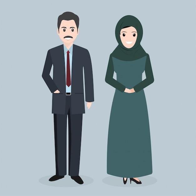 Icône de peuple musulman illustration de peuple arabe Vecteur Premium