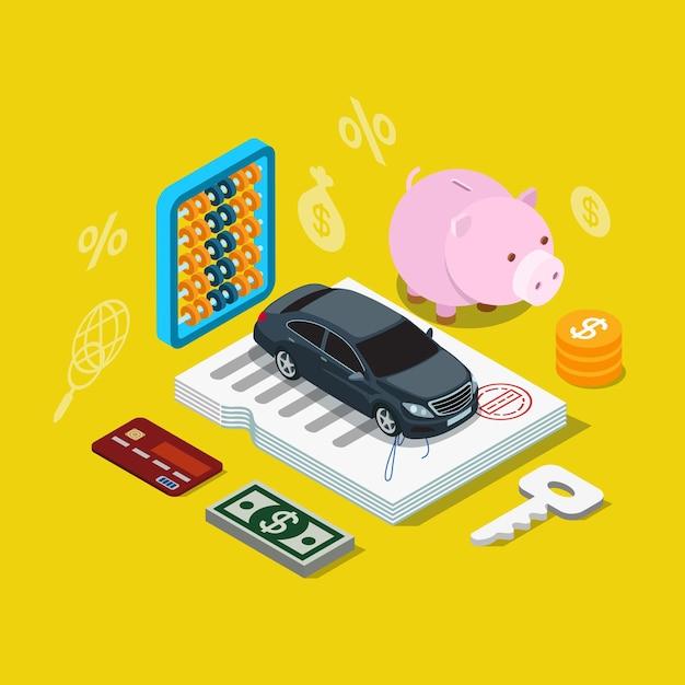 Icône De Plan De Financement De Prêt De Crédit Voiture Isométrique Plat Vecteur Premium