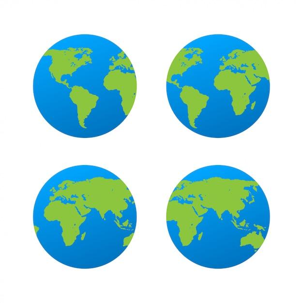 Icône de la planète terre plate. Vecteur Premium