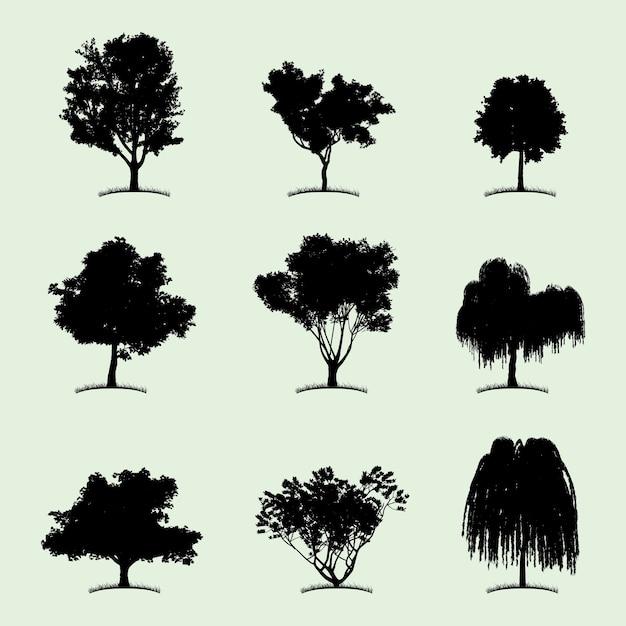 Icône Plate De Collection D'arbre Avec Neuf Types Différents De Plantes Sur Illustration Blanche Vecteur gratuit